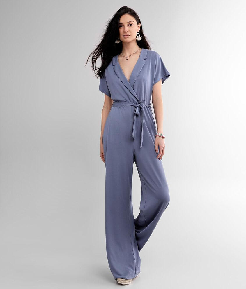 red by BKE Surplice Wide Leg Jumpsuit front view