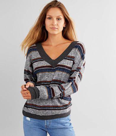 BKE Striped Double V-Neck Pullover