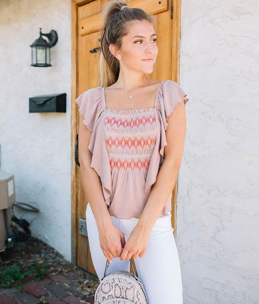 Willow & Root Ribbed Ruffle Top front view