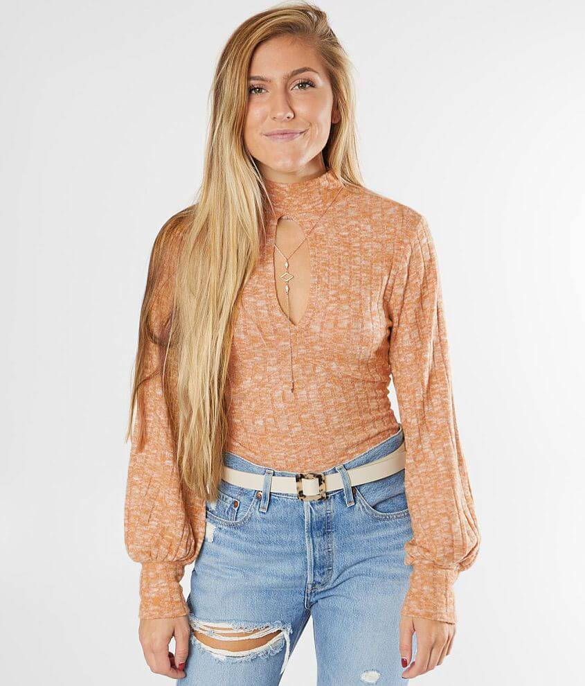 Willow & Root Brushed Mock Neck Top front view