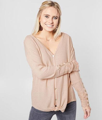 Daytrip Waffle Knit Front Tie Top