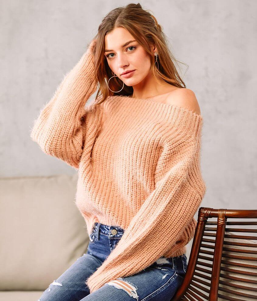 Willow & Root Off The Shoulder Sweater front view