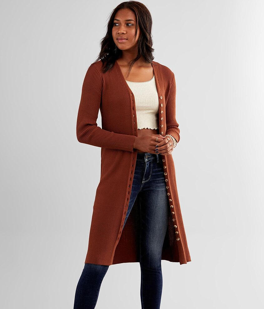 red by BKE Ribbed Duster Cardigan front view