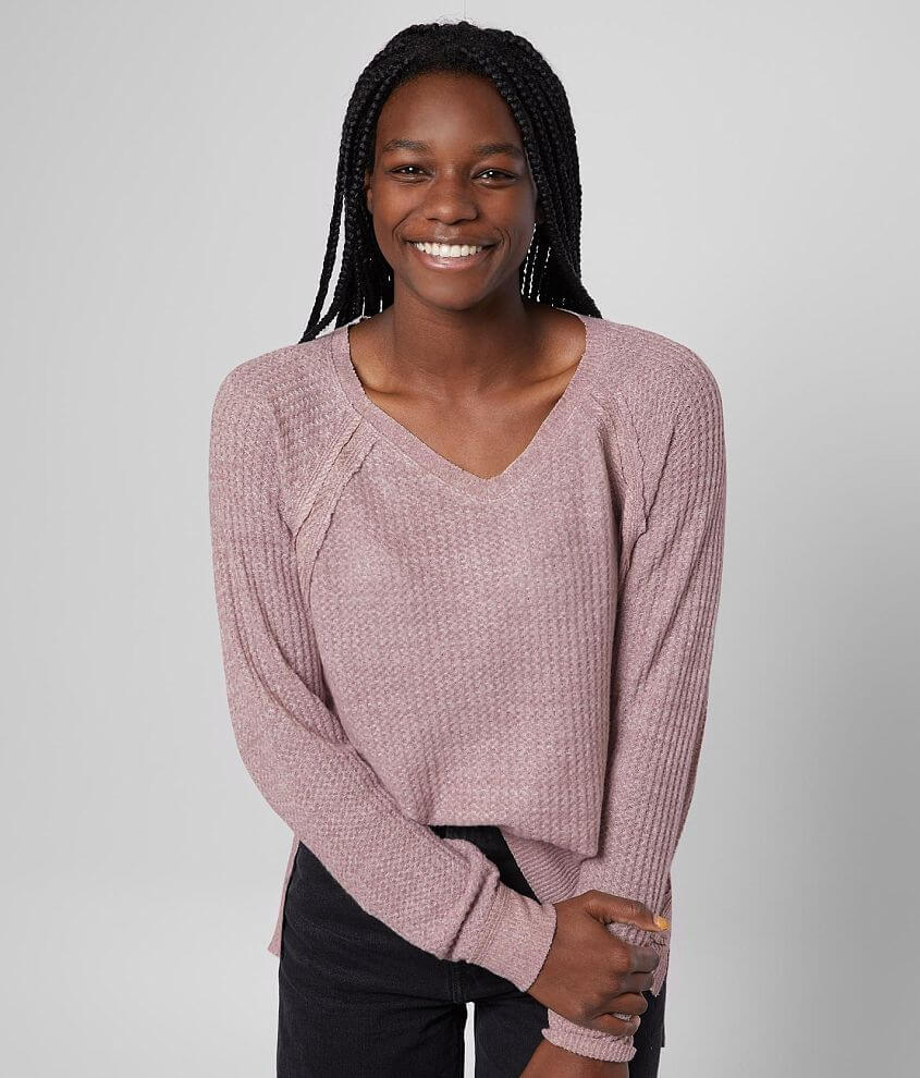 BKE Waffle Knit Thermal Top front view