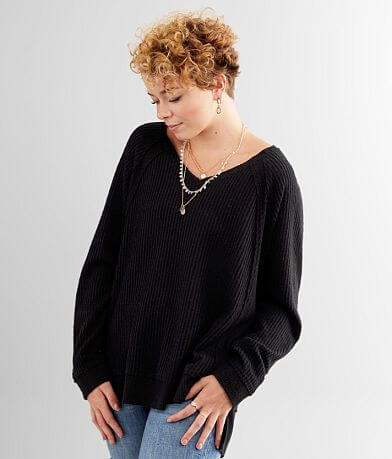 BKE Waffle Knit Thermal Top