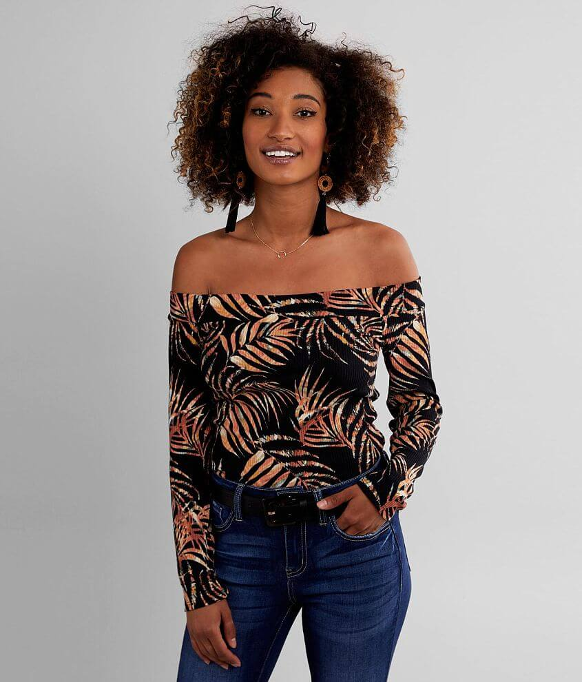Willow & Root Tropical Off The Shoulder Top front view