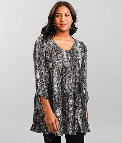 Charmed Hearts Tiered Babydoll Tunic Top