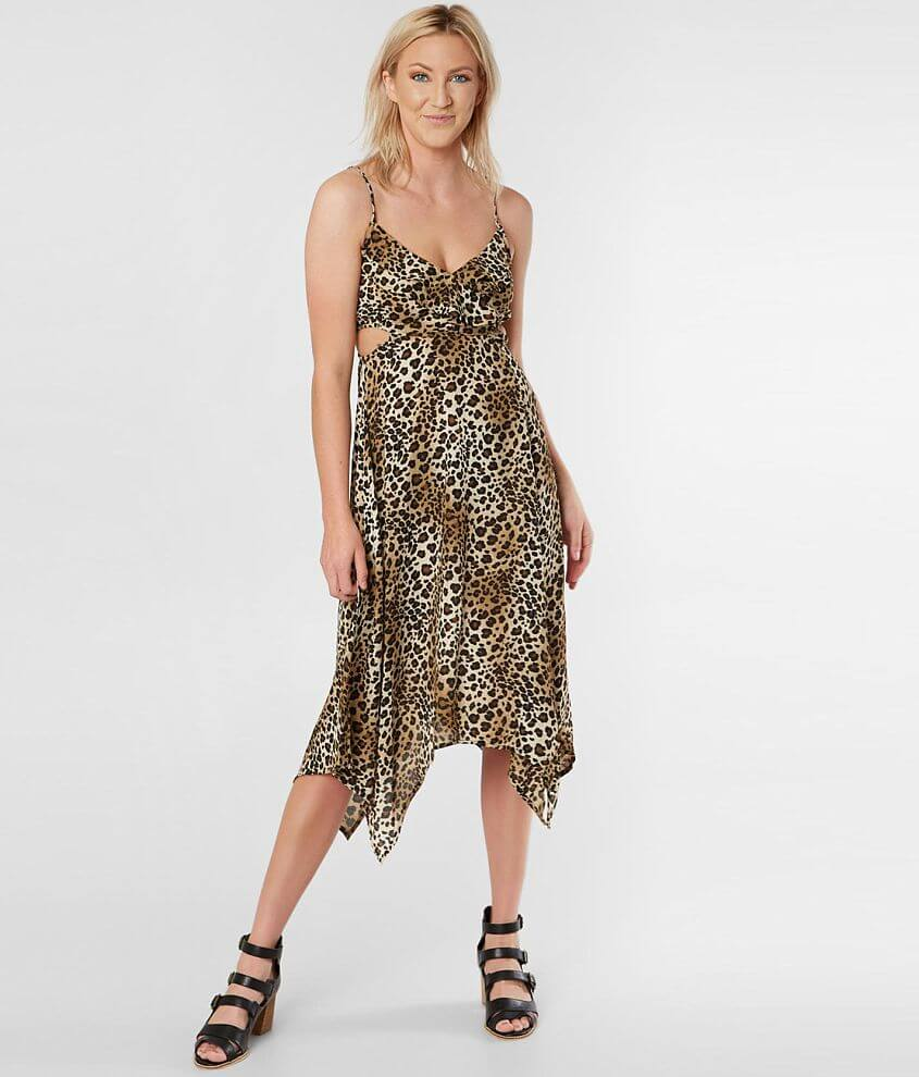 Inspired Hearts Leopard Print Chiffon Dress front view