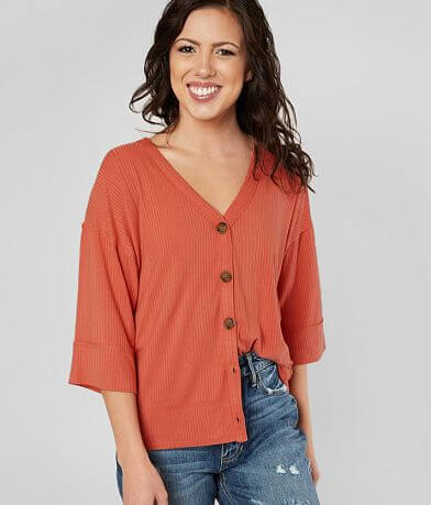 Daytrip Ribbed V-Neck Top