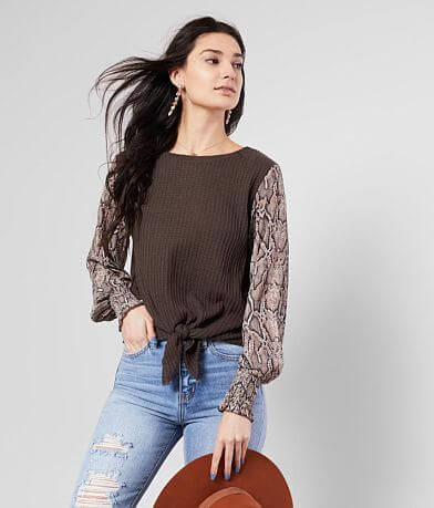 Inspired Hearts Brushed Waffle Knit Top