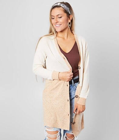 BKE Color Block V-Neck Cardigan