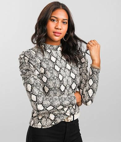 Evolutionary Apparel Snake Print Puff Sleeve Top