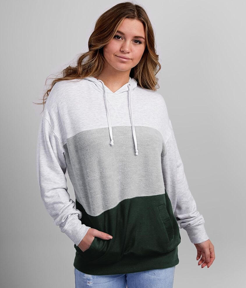 BKE Brushed Knit Color Block Hooded Sweatshirt front view