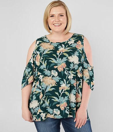 Daytrip Floral Cold Shoulder Top - Plus Size Only