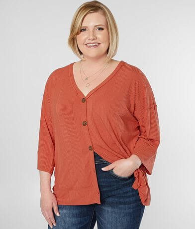 Daytrip Ribbed V-Neck Top - Plus Size Only