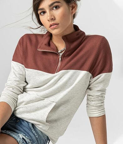 Girls - BKE Cozy Pieced Waffle Knit Pullover