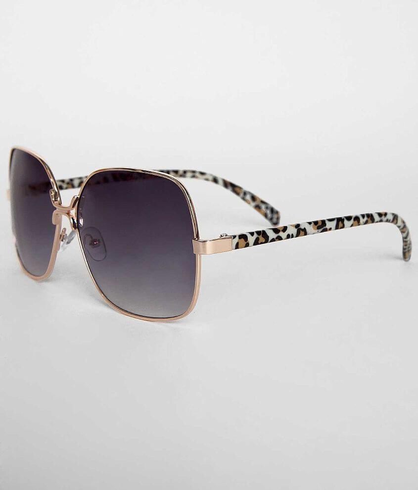 BKE Golden Leopard Aviator Sunglasses front view