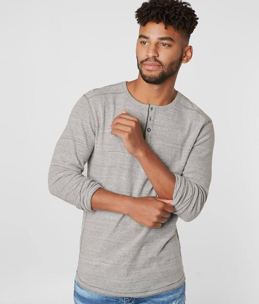 BKE Two Tone Thermal Henley front view