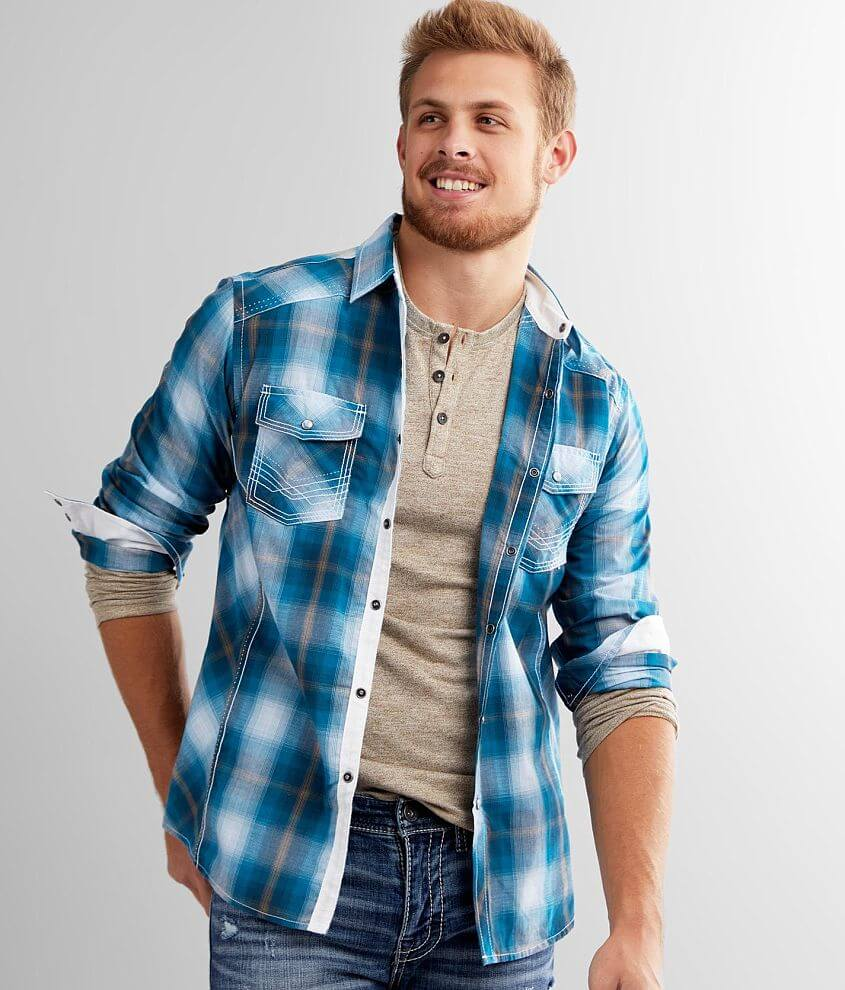 BKE Plaid Athletic Shirt front view