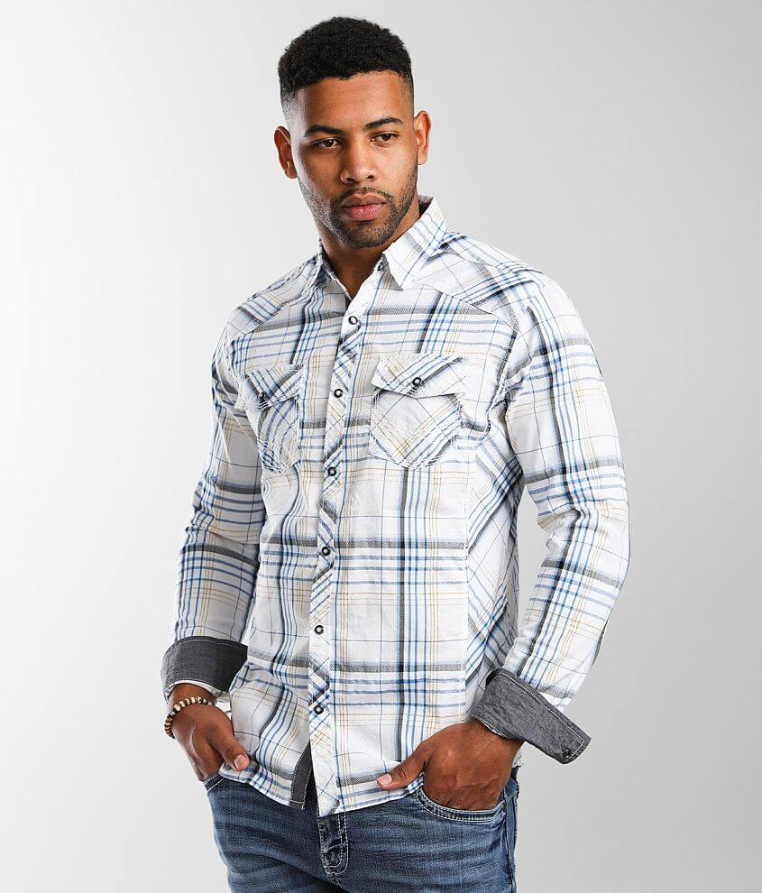 BKE Plaid Athletic Stretch Shirt front view