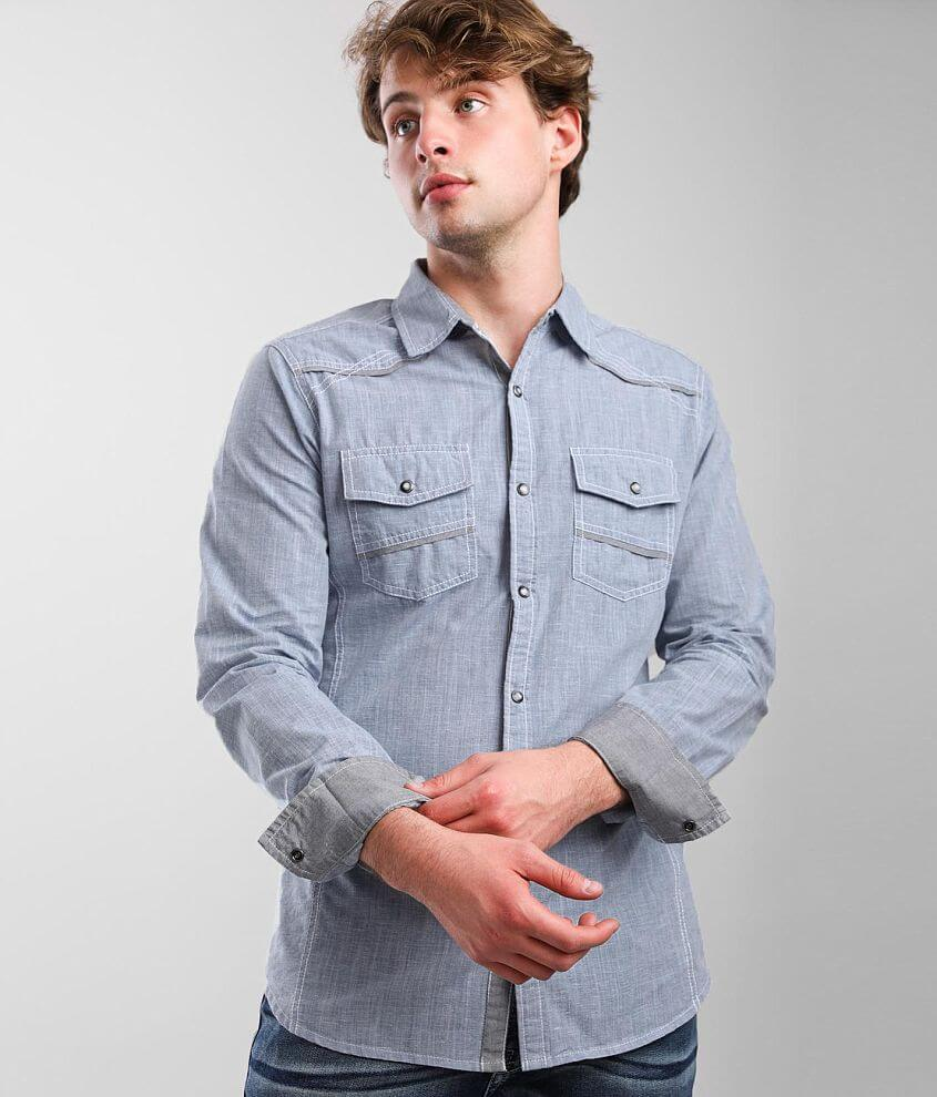 BKE Chambray Tailored Shirt front view