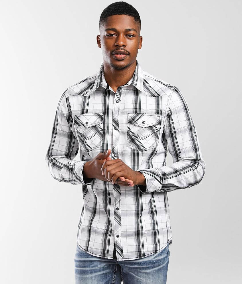BKE Plaid Standard Stretch Shirt front view
