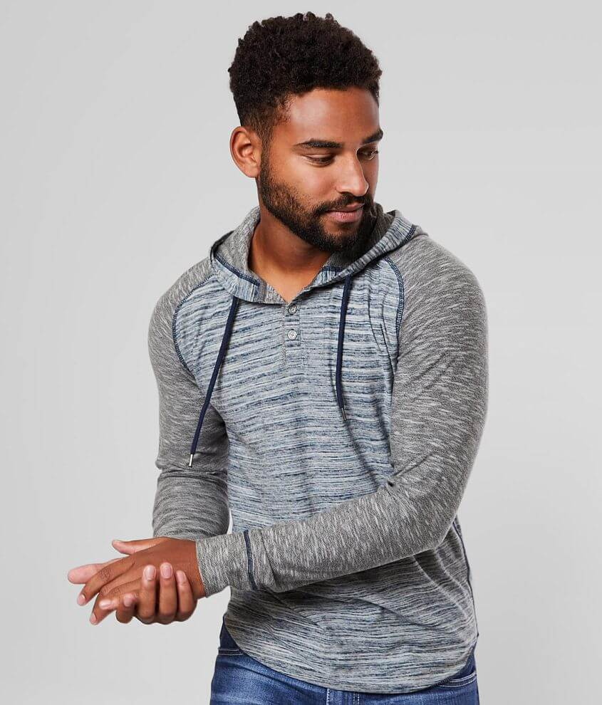 BKE Marled Henley Hoodie front view