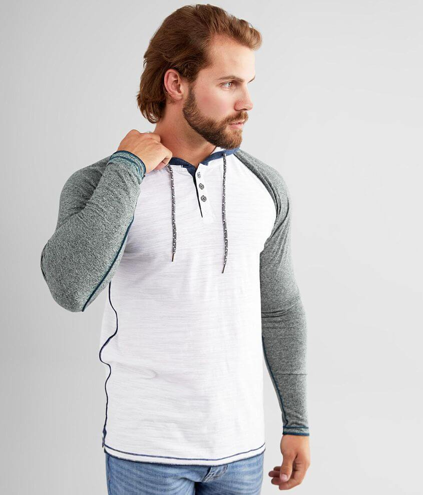 BKE Heathered Henley Hoodie front view