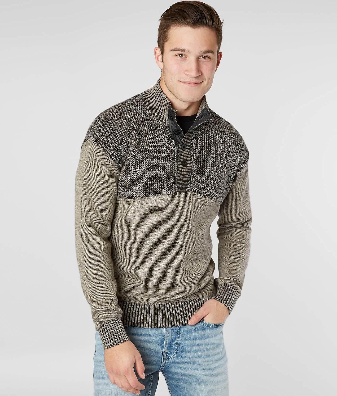 Bke Hixson Henley Sweater Mens Sweaters In Khaki Black Buckle