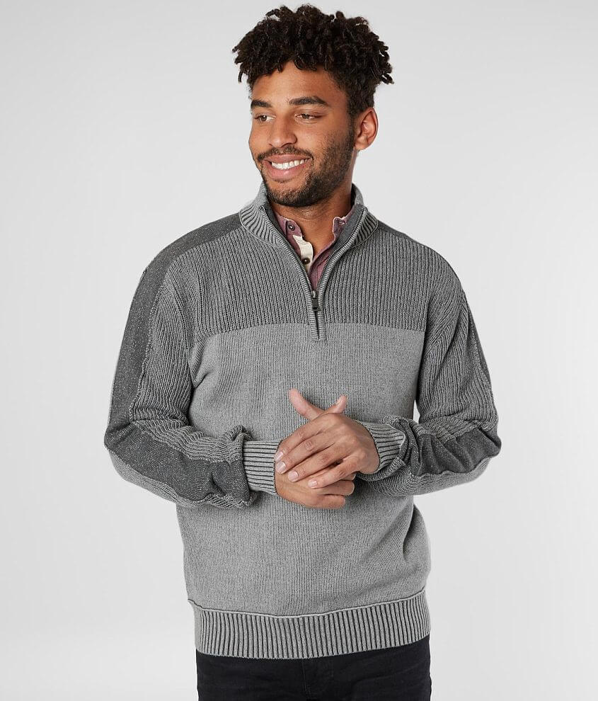Style B5074/Sku 603074 Quarter zip ribbed sweater Model Info: Height: 6\\\'0\\\