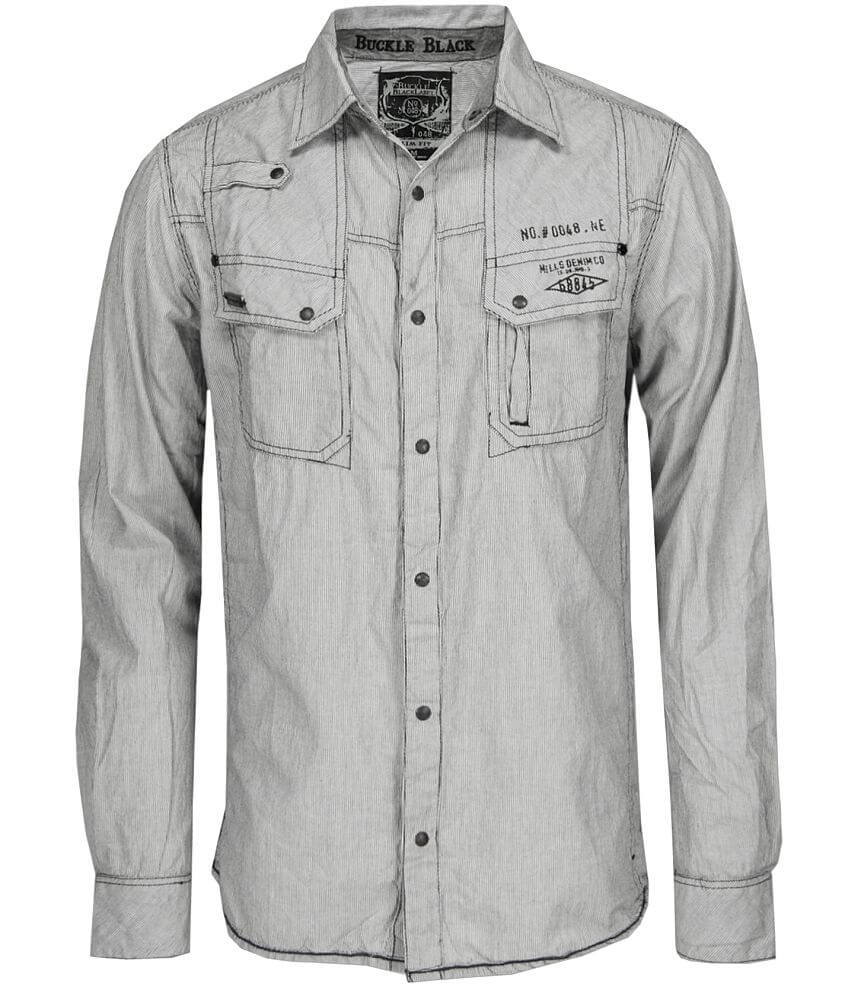 Buckle Black Pinstriped Snap Front Shirt front view