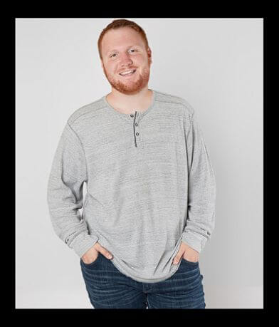 BKE Two Tone Thermal Henley - Big & Tall
