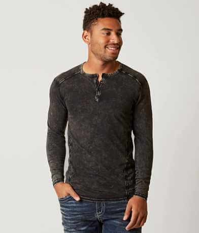 Buckle Black Crosshatch Henley