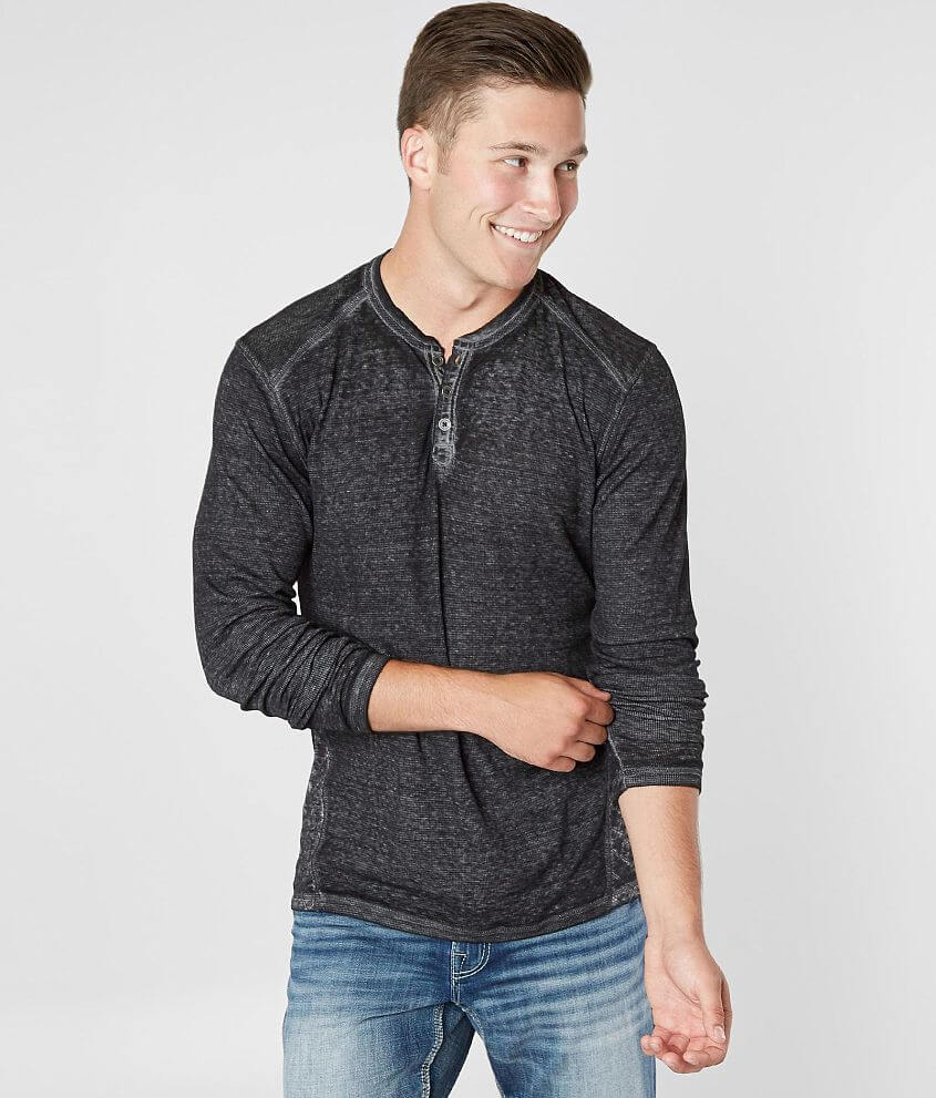Buckle Black Crosshatch Burnout Thermal Henley front view