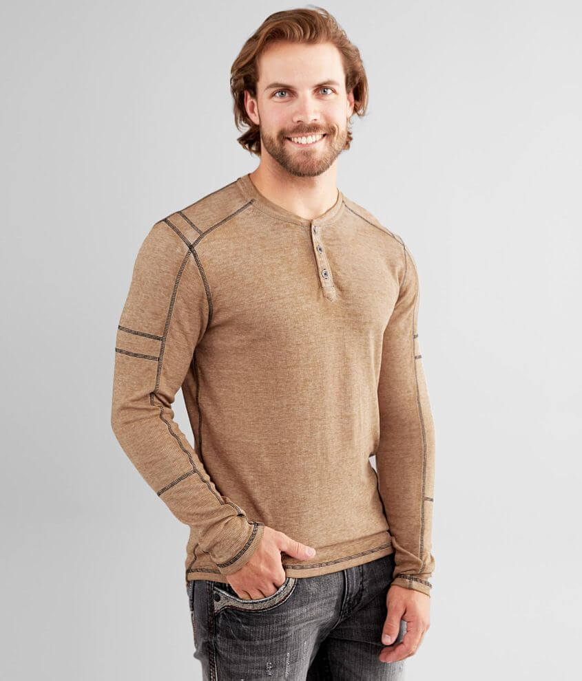 Buckle Black Thermal Henley front view