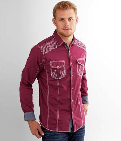 Buckle Black Embroidered Athletic Stretch Shirt