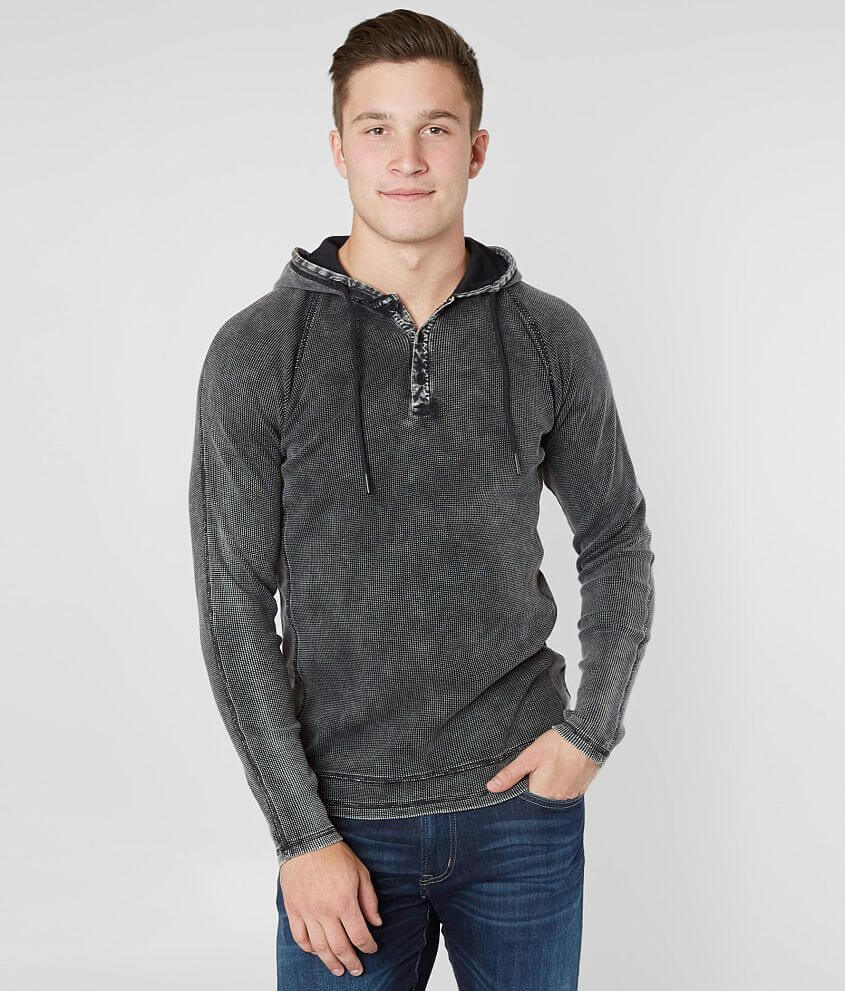 Buckle Black Waffle Henley Hoodie front view