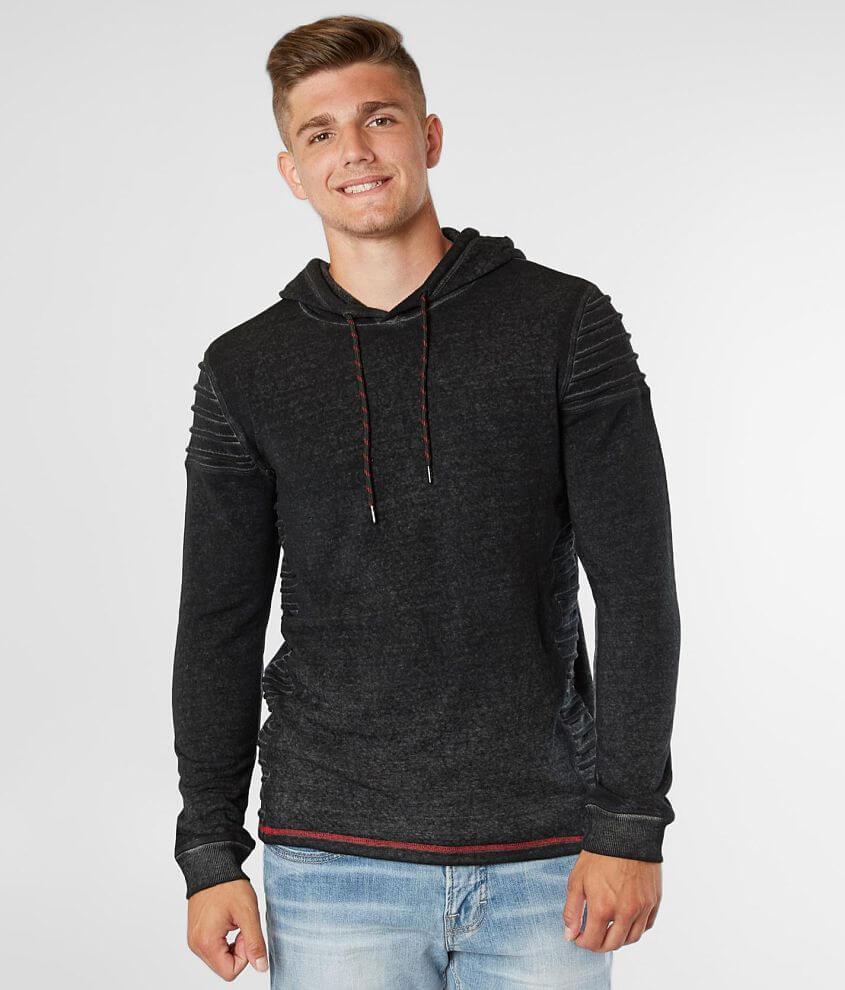 Buckle Black Burnout Hooded Sweatshirt front view