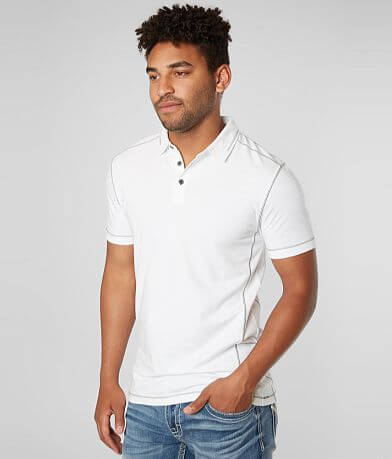 Buckle Black Contrast Coverstitch Stretch Polo