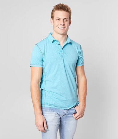 Buckle Black Mixed Media Burnout Polo