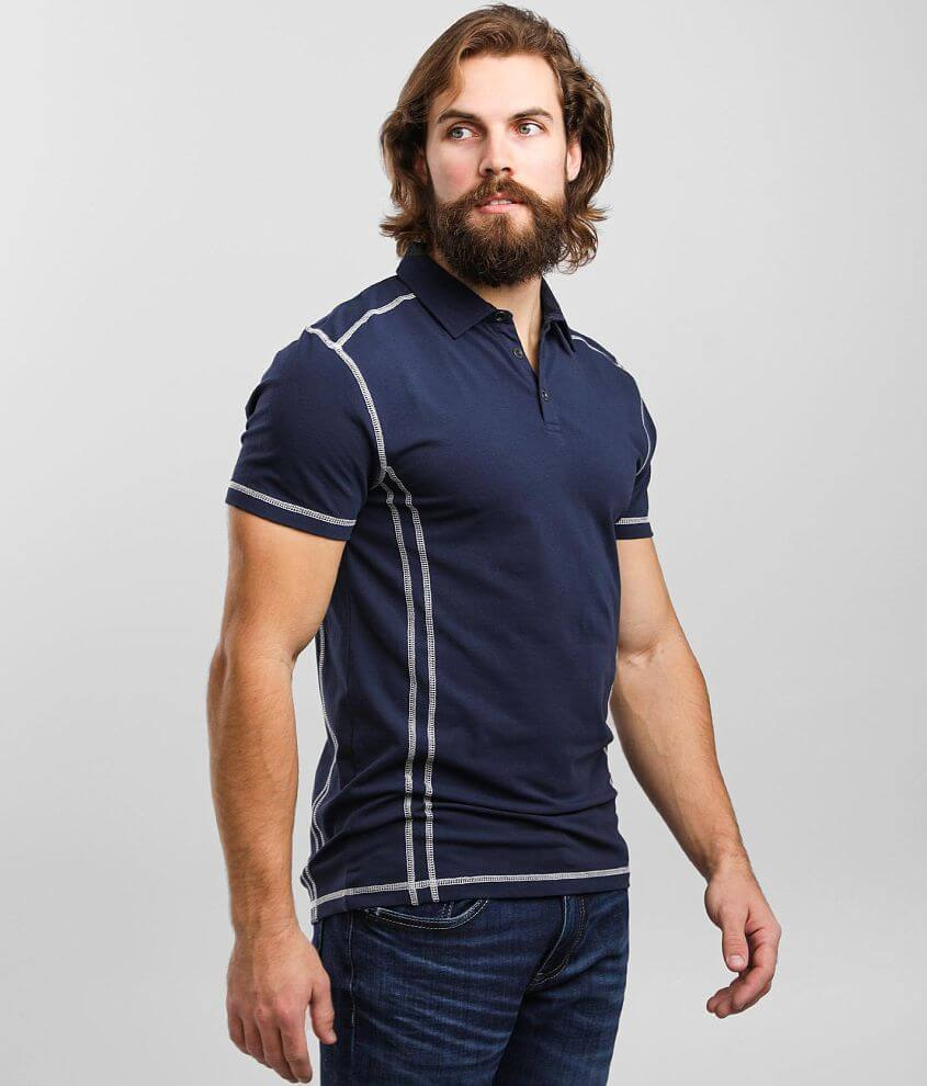 Buckle Black Word Stretch Polo front view