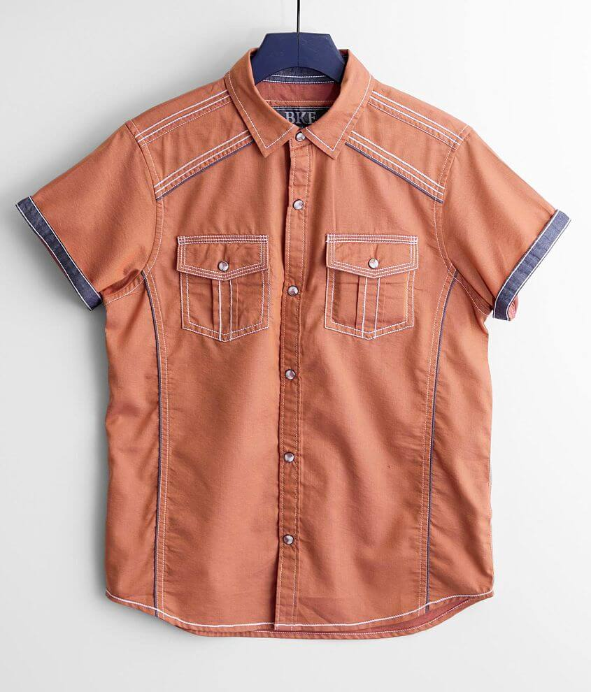 Boys - BKE Solid Embroidered Shirt front view