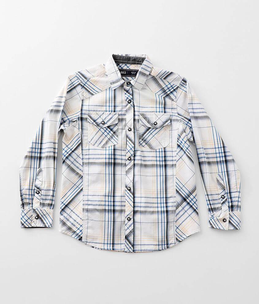 Boys - BKE Plaid Stretch Shirt front view