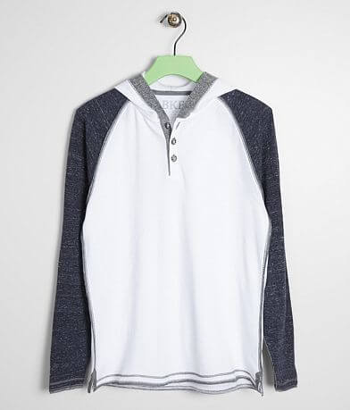 Boys - BKE Raw Edge Thermal Henley Hoodie