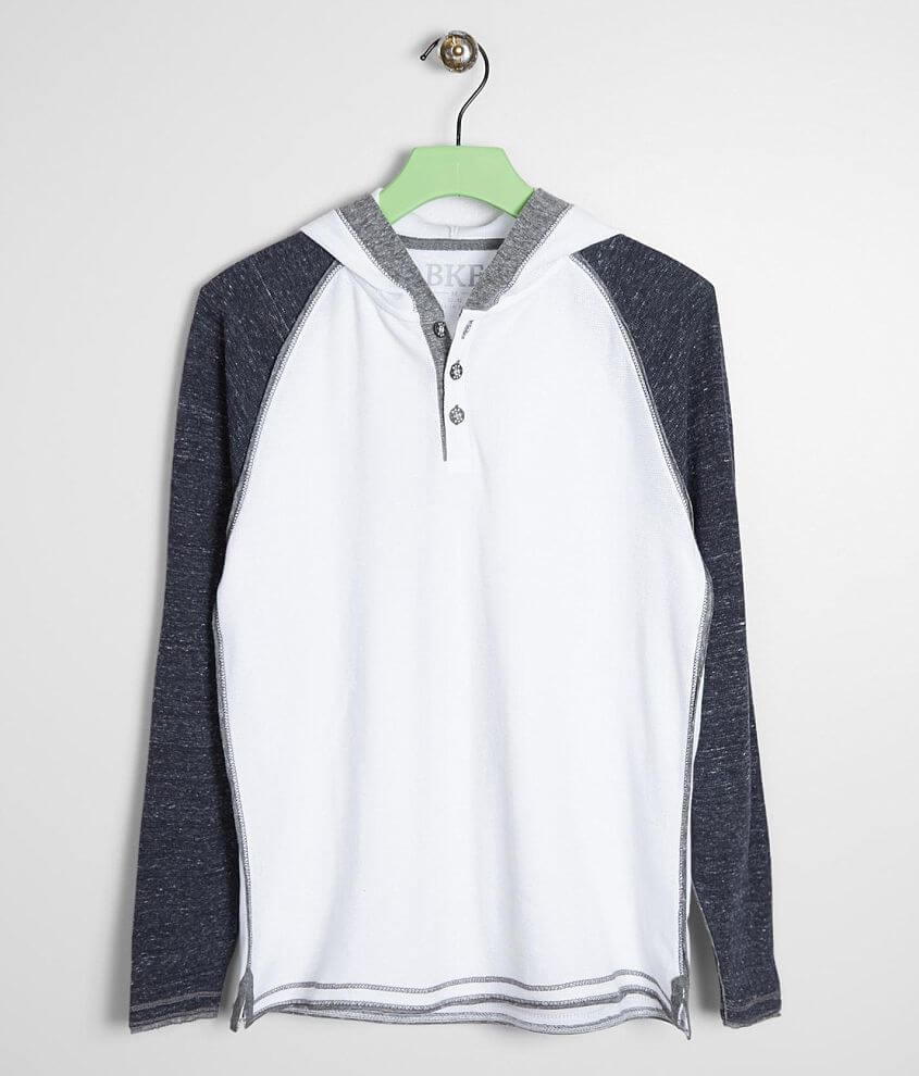 Boys - BKE Raw Edge Thermal Henley Hoodie front view