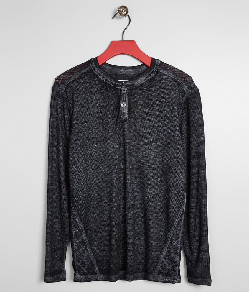 Boys - Buckle Black Crosshatch Thermal Henley front view