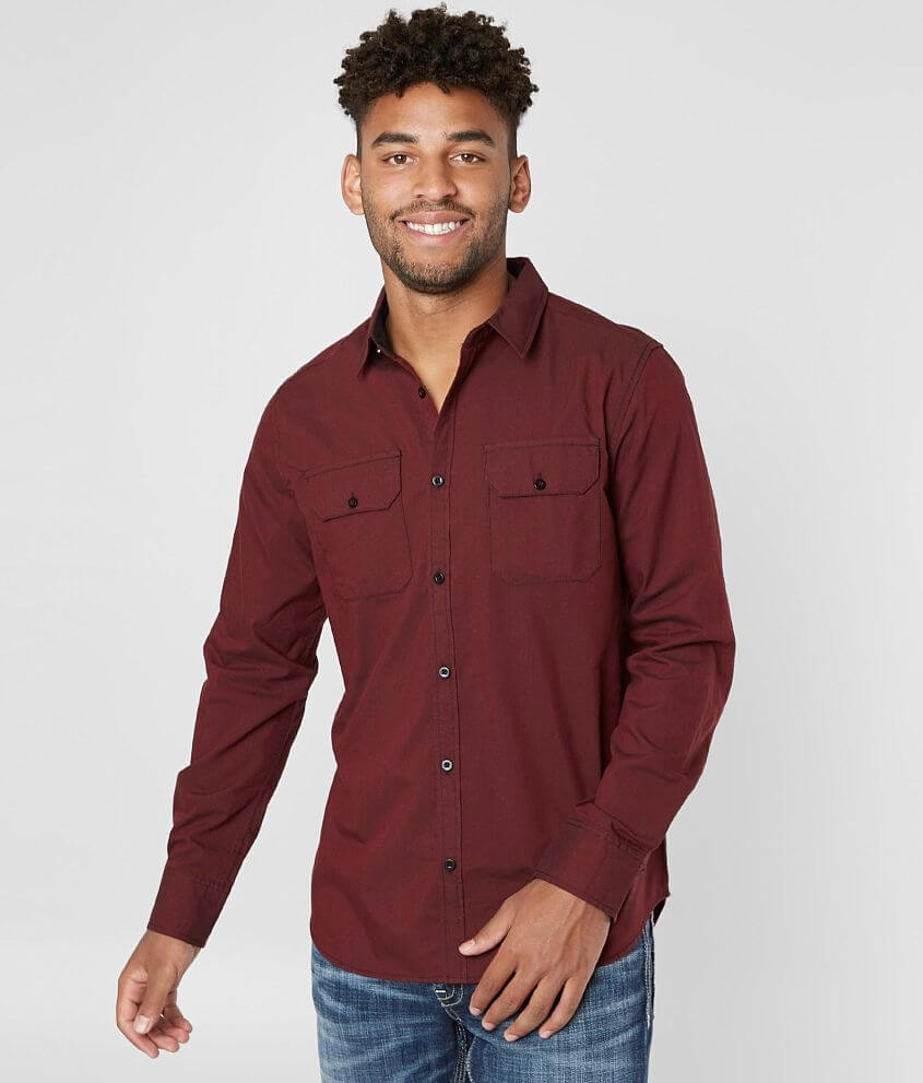 Departwest Solid Woven Shirt front view