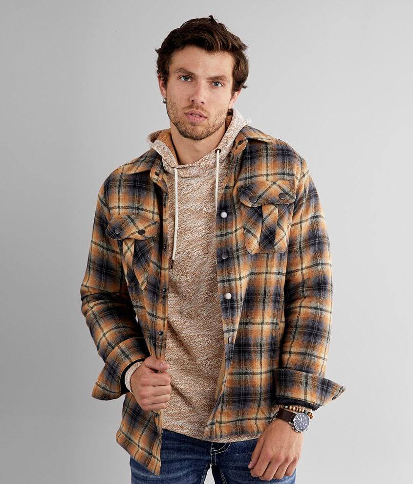 Outpost Makers Plaid Flannel Shacket front view