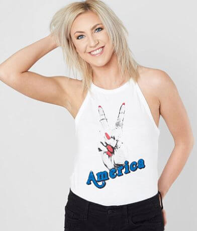 Modish Rebel America Peace Sign Tank Top