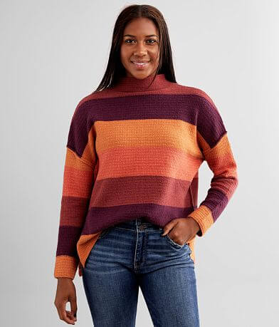 BKE Striped Mock Neck Sweater